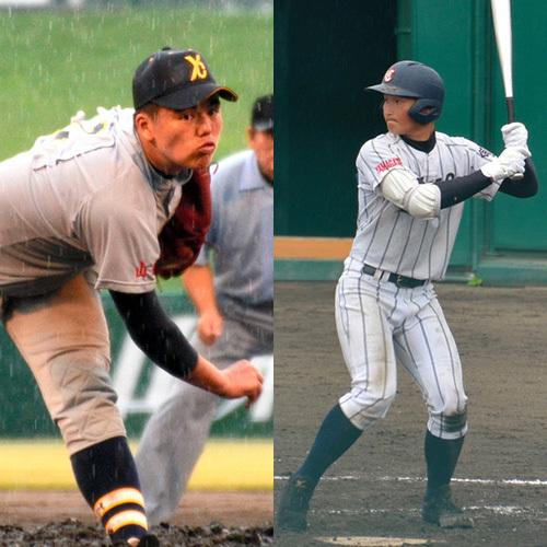 写真:米沢中央・佐藤大和選手(左)と山形中央・高... 米沢中央・佐藤大和選手(左)と山形中央・